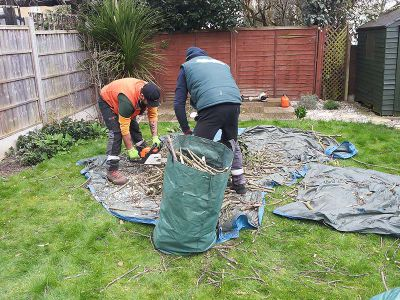 gathering the green waste