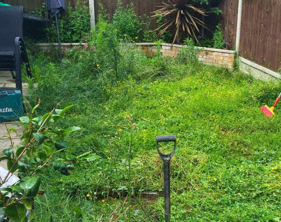 garden in E10 area before new artificial turf is laid
