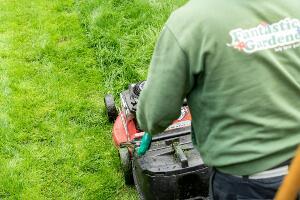 gardener mowing a lawn