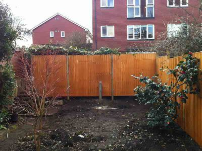 soil is levelled and the fence is installed