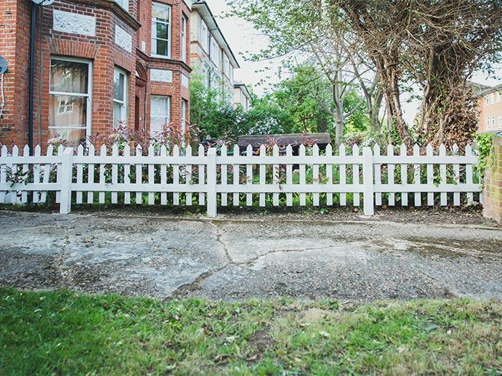 garden fence after weed removal