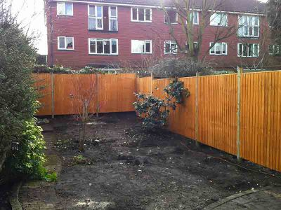 the turfing and fencing partially done