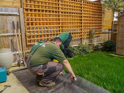 installing anti-weed membrane