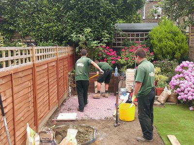 laying the base for the patio