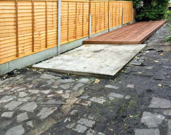new fence, decking and concrete foundation