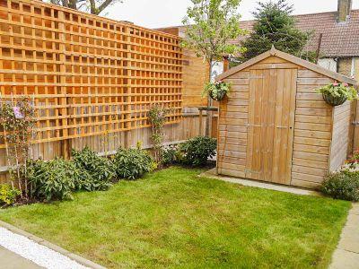 mowed lawn, trellis installation, planting