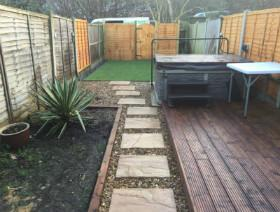 new decking and paving stones