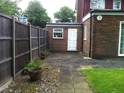 the decking area before the job