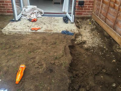 forming the area for flowerbeds, old turf removal