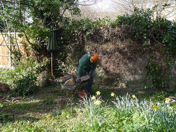 gardener stocking fire wood